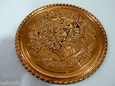 England Copper Wall Hanging Plate Plaque Fruit Basket Embossed