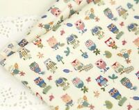 Mini owls Blue 100% Cotton Fabric BY THE YARD / owl birds bird quilting JC6/29: