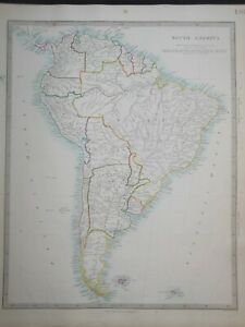 Hand Coloured c1845 Victorian SDUK Map of South America, Brazil, Bolivia - 130