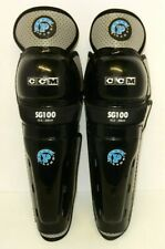 "Nos Ccm Sg100 Powerline Mens Adult 15.5"" Ice Hockey Shin Guards White / Black"