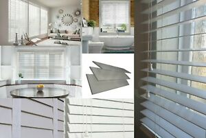 Fauxwood Faux Wood Wooden String Venetian Blinds 50MM Slats Smooth Grey White