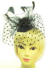 Black  net and feather skull cap headband fascinator for Ascot , Races, Weddings