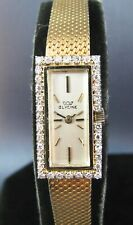 Vintage Glycine Swiss Solid 14k Yellow & White Gold & Diamonds Lady's Watch