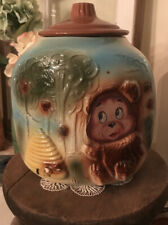 VINTAGE COOKIE JAR - BISQUE HONEY BEAR & BEEHIVE FLASHER CORNER COOKIE JAR