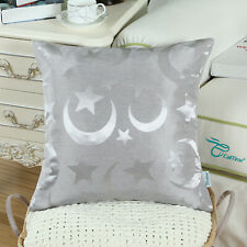 2Pcs Silver Gray Cushion Covers Throw Pillows Shell Stars Moon Home Decor 18x18""