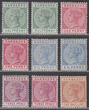 Barbados 1882-86 Queen Victoria Part Set to 1sh Mint with extra shades