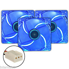 THREE PACK SUPER SILENT 3PIN 120MM BLUE LED PC CASE FAN 12CM - CASE COOLING X 3