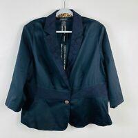 Lane Bryant Size 14 16 Black Lace Trim Blazer Jacket Cotton Blend