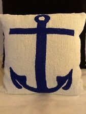 "Cute Beaded Blue And White Throw Pillow 12"" X 12"""