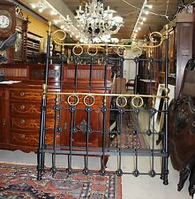 English Antique Iron & Brass Painted Black & Gold Full Size Bed Frame with Rails