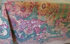"""New listing Vintage Fall Rect Kitchen Print Tablecloth 1960's? Green Plaid Floral 68"""" x 48"""""""