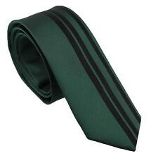 Coachella Ties Unique Design Deep Green with Black Stripe Necktie Skinny Tie 6cm