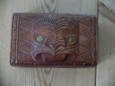 More details for vintage maori carved tiki box with shell eyes
