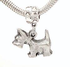 Scottie Terrier Dog Charm on Pawprint Slider for Bracelet or Necklace