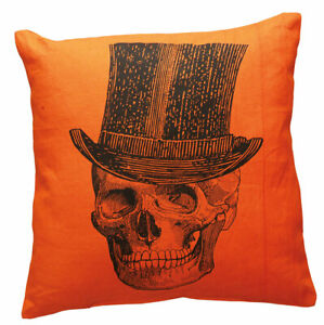 """Halloween Throw Pillow Vintage Skull with Top Hat Primitives by Kathy 15 x 15"""""""