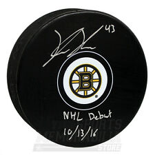Danton Heinen Boston Bruins Signed Autographed NHL Debut Inscribed Hockey Puck