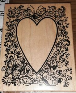 Psx,butterfly flowers blank heart,k1645,,B002,rubber, wood