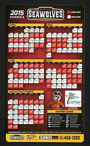 Erie SeaWolves--2015 Magnet Schedule--Tigers Affiliate