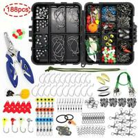 188 pcs Fishing Accessories Kit Lure Pliers Jig Hooks Swivels with Tackle Box