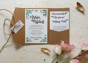Rustic Wedding Invitations. Shabby, BOHO invites, Garden kraft theme invites x3
