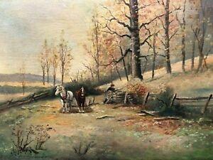 Ölgemälde alt Romantik Pferde Bauer Herbst Laubwald signiert Belgien um 1920
