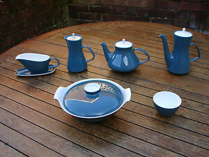 Poole Blue Moon White Coffee Tea Pot Gravy Boat Tureen Sugar Bowl