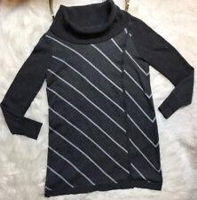 White House Black Market Cowl Neck Tunic Sweater Womens Size M Gray Stripes