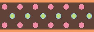 RoomMates Peel & Stick Border - Brown w/ Pink, Green and Blue Dots