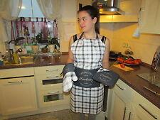 Küchenschürze mit Aufgesetzter Tasche 3 Teil. Topfhandschuh Topflappen