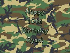 GREEN CAMOFLAGE Camo Edible Icing Image Birthday CAKE Topper Decoration