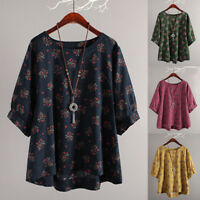 Womens 3/4 Sleeve Tunic Tops T-Shirt Floral Casual Baggy Blouse Shirt Plus Size
