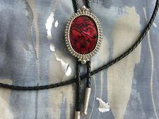 Grande Rosso Bolo Di Abalone Cravatta Vera Pelle Corda Metallo Argento,Western,
