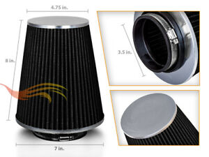 """3.5"""" Cold Air Intake High Flow TRUCK FILTER Universal BLACK For Jeep/Land Rover"""