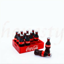 Set of 12 Dollhouse Miniature Mini Coca Cola With 1 Cola Base Model Decor Gift