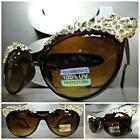 CLASSIC VINTAGE 60s CAT EYE Style BLING RHINESTONE SUNGLASSES Brown & Gold Frame