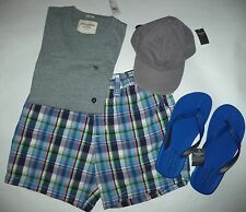 Abercrombie & Fitch set of mens shorts tee baseball cap and flip-flops size L