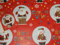 2 Sheets of Christmas Wishes Wrapping Paper with 1 Gift Tag, Xmas, Santa  (71)