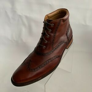 Cole Haan Mens Ankle Boots Brown Leather Wingtip Brogue Lace Up Size 11.5M