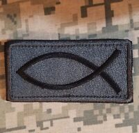 JESUS FISH CHRISTIAN USA INFIDEL CRUSADER ICHTHYS VELCRO® BRAND ACU DARK PATCH