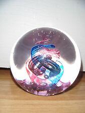 Selkirk glass paperweight ~ Maschera ~ Viola & Blue SPIRALI ~ firmato ~ etichetta