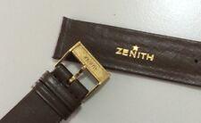 Original Vintage ZENITH Maroon Leather Watch Strap 16mm & Buckle, NOS