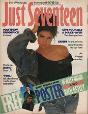 Just Seventeen Magazine 18 November 1987   Matthew Broderick   T'Pau  Bono of U2