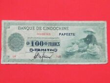 TAHITI PAPEETE ( 1943 RARE ) 100 FRANCS ON 50 PIASTRES  EXTREMELY RARE BANK NOTE