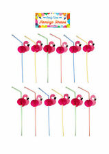 Flamingo Pink Plastic Party Straws Pack of 12