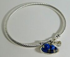 """Twisted Silver Bangle Bracelet Silver Shell Blue Beaded Charms 7"""""""