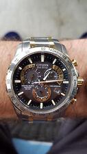 Excellent Condition Men's Citizen Eco-Drive AT4004-52E Wrist Watch - Silver/Gold