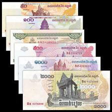 Cambodia set 6 PCS, 50 100 200 500 1000 2000 Riels,  UNC