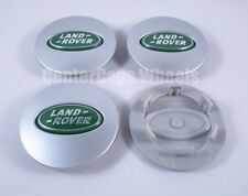 (SET OF 4) Land Rover Range Rover Sport 63mm SILVER and GREEN Oval Center Caps