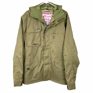 Burton Snowboard Jacket Women Size Large Olive Green Pockets Insulated