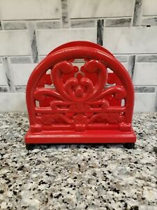 Red Cast Iron Napkin Holder With Rubber Feet 5x5